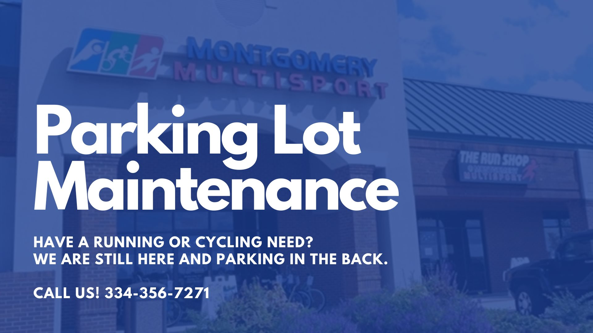 Don't let the empty parking lot fool you! We are parking in the back while our lot gets new pavement. Knock on the door or better yet give us a call and let us know you are coming! 334-356-7271